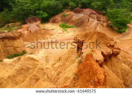 Famous soil erosion in Phrae province ,North of Thailand - stock photo