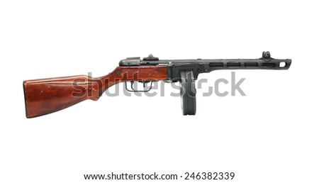 Famous Soviet sub-machine gun PPSH-41 isolated on white background with clipping path - stock photo
