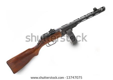 Famous Soviet (USSR) submachine gun - PPSH-41 (model of 1941). Very submachine gun with 71 ammunition in cartridge-drum - World War II period - stock photo