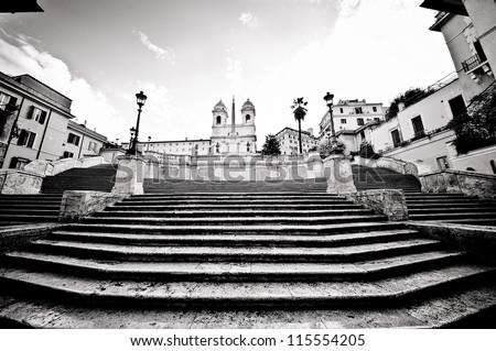 Famous Spanish Steps looking very quiet, Rome, Italy - stock photo