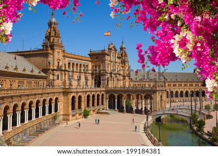 Famous square of Spain in Seville, Andalusia, Spain - stock photo