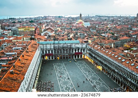 Famous square San Marco in Venice, Italy - stock photo