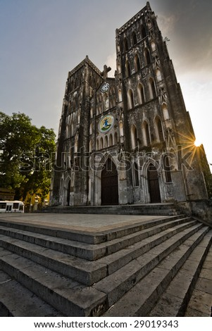 Famous St Joseph's Cathedral in  Hanoi, Vietnam - stock photo