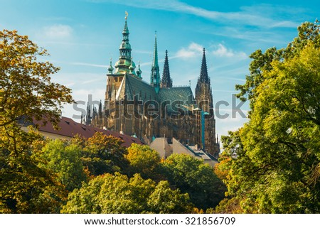 Famous St. Vitus Cathedral Prague, Czech Republic. Sunny day - stock photo
