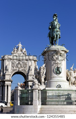 famous statue and arch on commerce square in Lisbon, Portugal - stock photo