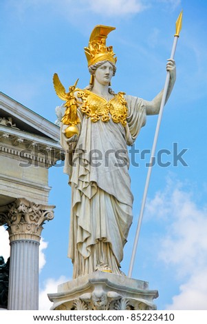 Famous statue of Pallas Athena in front of the Austrian Parliament in Vienna