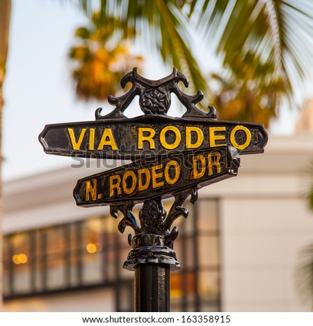 Famous steetsigh of Rodeo Dr in Los Angeles, the Luxury block - stock photo