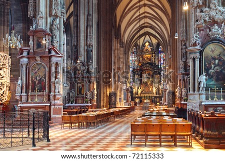 Famous Stephans dome in vienna from inside - stock photo