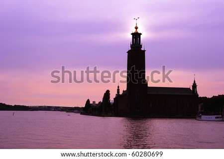 Famous Stockholm City Hall at sunset. Sweden - stock photo