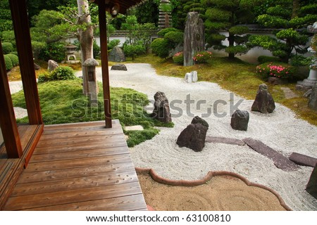Famous stone gardens of Kyoto