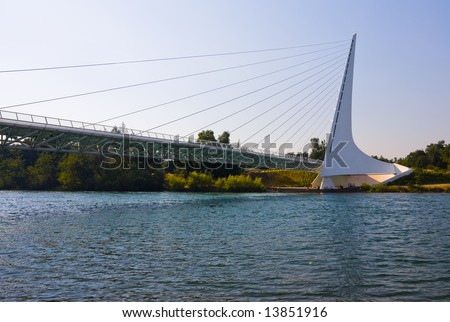 Famous Sundial Bridge in Redding California - stock photo