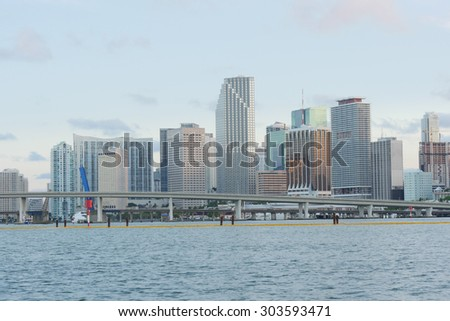 famous sunset miami city downtown center panorama - stock photo