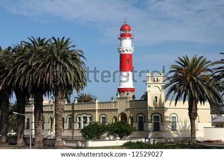 Famous Swakopmund Lighthouse in Swakopmund, city on the Atlantic coast of northwestern Namibia, 280 km (175 miles) west of Windhoek, Namibia's capital. - stock photo