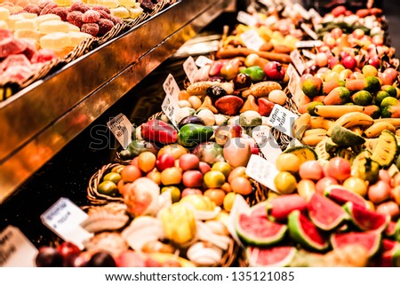 Famous sweet candy market in Barcelona, Spain - stock photo