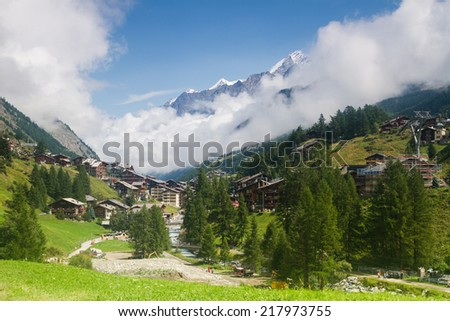 Famous swiss city Zermatt in the valley near the swiss-italian border center of alpine sports. Valais canton, Switzerland - stock photo