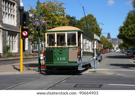 Famous symbol of Christchurch, New Zealand. Heritage tramway. Tourist attraction. - stock photo