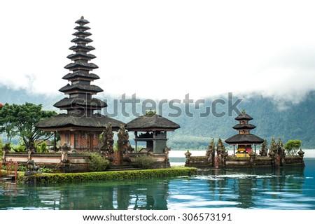 Famous temple in Bali,Ulun danu Hindu temple. - stock photo