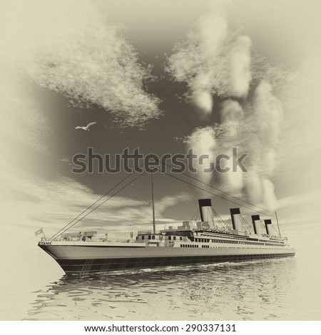 Famous Titanic ship floating among icebergs on the water by cloudy day, vintage style - 3D render - stock photo