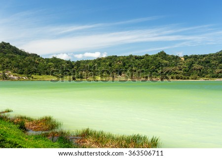 famous tourist attraction sulphurous lake - Danau Linow, North Sulawesi Indonesia - stock photo