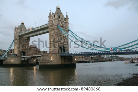Famous Tower bridge  in London - stock photo