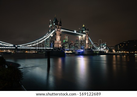Famous Tower Bridge in the evening, London, England, London, December, 2013.  - stock photo