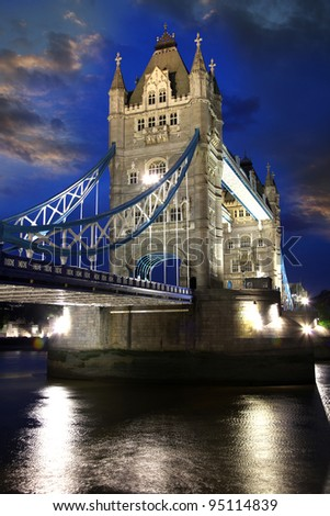 Famous Tower Bridge in the evening,  London, UK - stock photo
