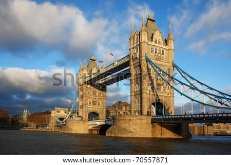 Famous Tower Bridge, London, UK - stock photo