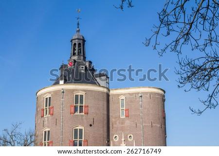 Famous tower Drommedaris in fisherman's village Enkuizen in the  Netherlands - stock photo