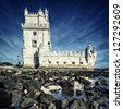 famous Tower of Belem,  Lisbon, Portugal. - stock photo