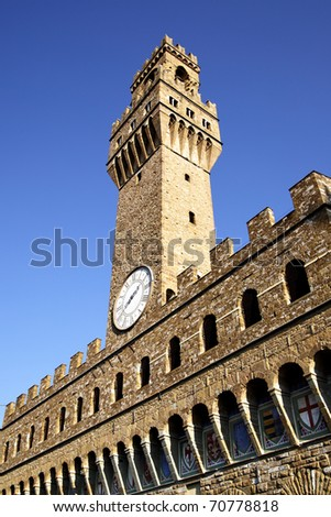 Famous tower of Palazzo Vecchio, Florence, Italy