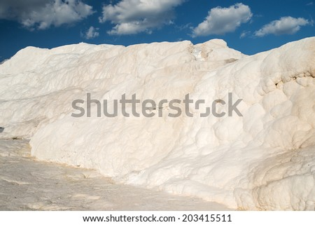 Famous travertines in Pamukkale, Turkey. soft focus on bottom of picture  - stock photo