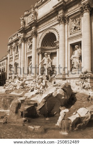 Famous Trevi fountain in Rome, Italy. Photo taken on: September 27th, 2011