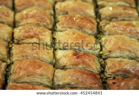 Famous Turkish traditional dessert â??Baklavaâ??  - stock photo