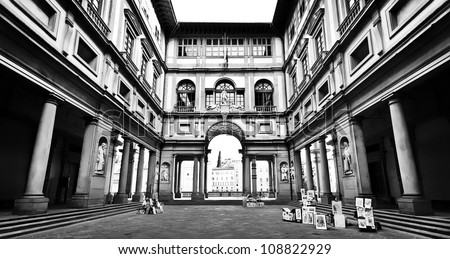 Famous Uffizi Gallery in Florence, Italy in black and white - stock photo