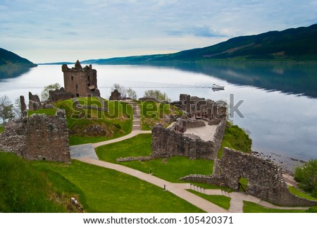 famous Urquhart Castle at Loch Ness in Scotland - stock photo
