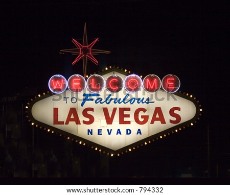 famous vegas sign at night - stock photo