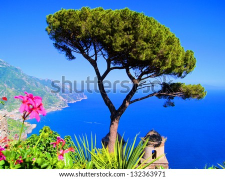 Famous view from a villa in Ravello, Amalfi Coast, Italy - stock photo