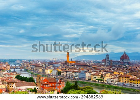 Famous view of Florence at night from Piazzale Michelangelo in Florence, Tuscany, Italy - stock photo
