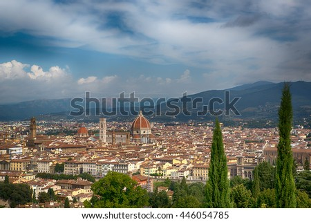 Famous view of Florence from Piazzale Michelangelo in Florence, Tuscany, Italy - stock photo