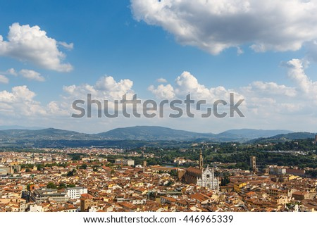 Famous view of Florence with mountains from Piazzale Michelangelo in Florence, Tuscany, Italy - stock photo