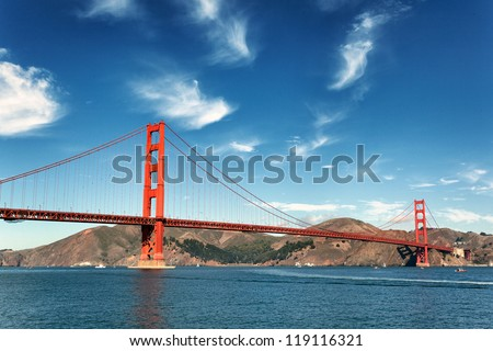 famous view of Golden Gate Bridge in San Francisco, California, USA - stock photo