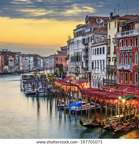 Famous view of Grand Canal at sunset, Venice