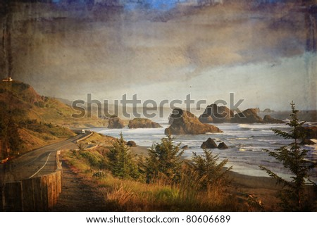 Famous view of highway 101 along the Oregon coast in the evening. This is by Gold Beach. - stock photo