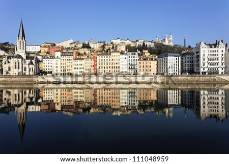 famous view of Lyon and Saone River in France - stock photo