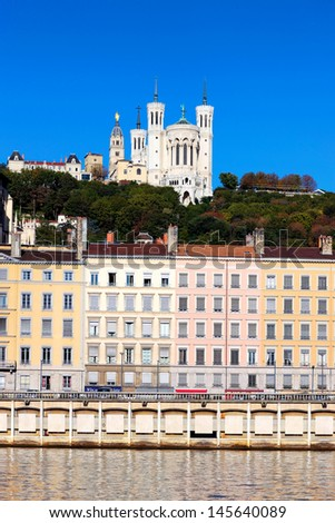 Famous view of Lyon over the Saone river, France - stock photo