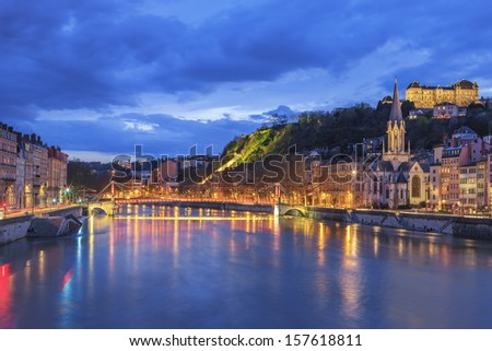Famous view of Lyon with Saone river  - stock photo