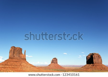 famous view of Monument Valley with big blue sky, Utah, USA.