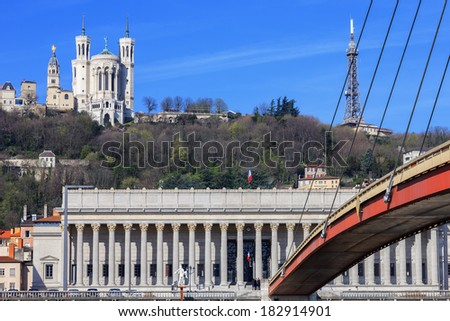Famous view of Saone river and footbridge at Lyon, France - stock photo