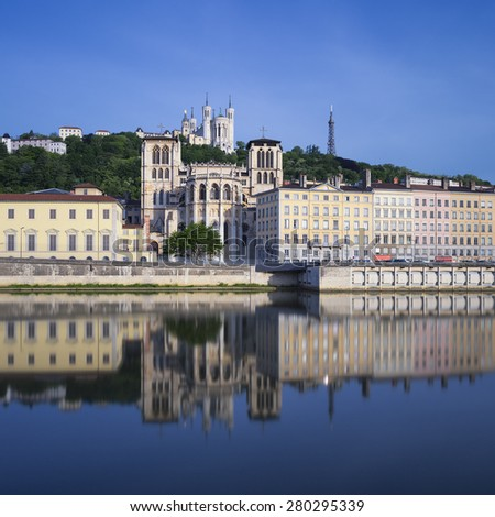 Famous view of Saone river, Lyon, France. - stock photo