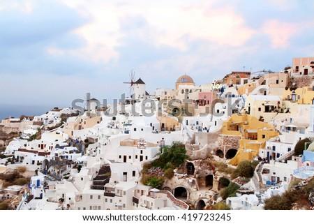 Famous view over Oia village Santorini island,Greece - stock photo